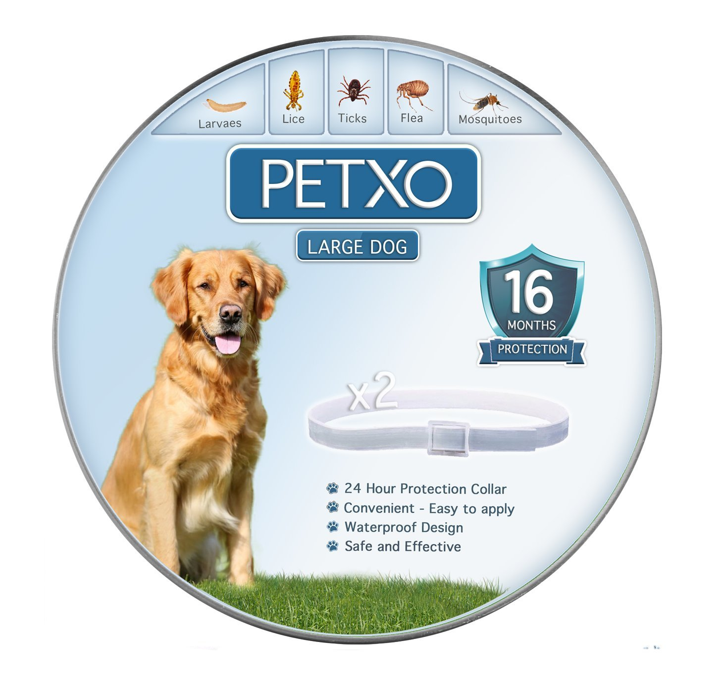 PETXO - Dogs Flea and Tick Collar. ''16 Months Protection''. Waterproof Design. Adjustable, One Size Fits Medium and Large Dogs. Grey Collar For Dogs With Natural Essential Oils.