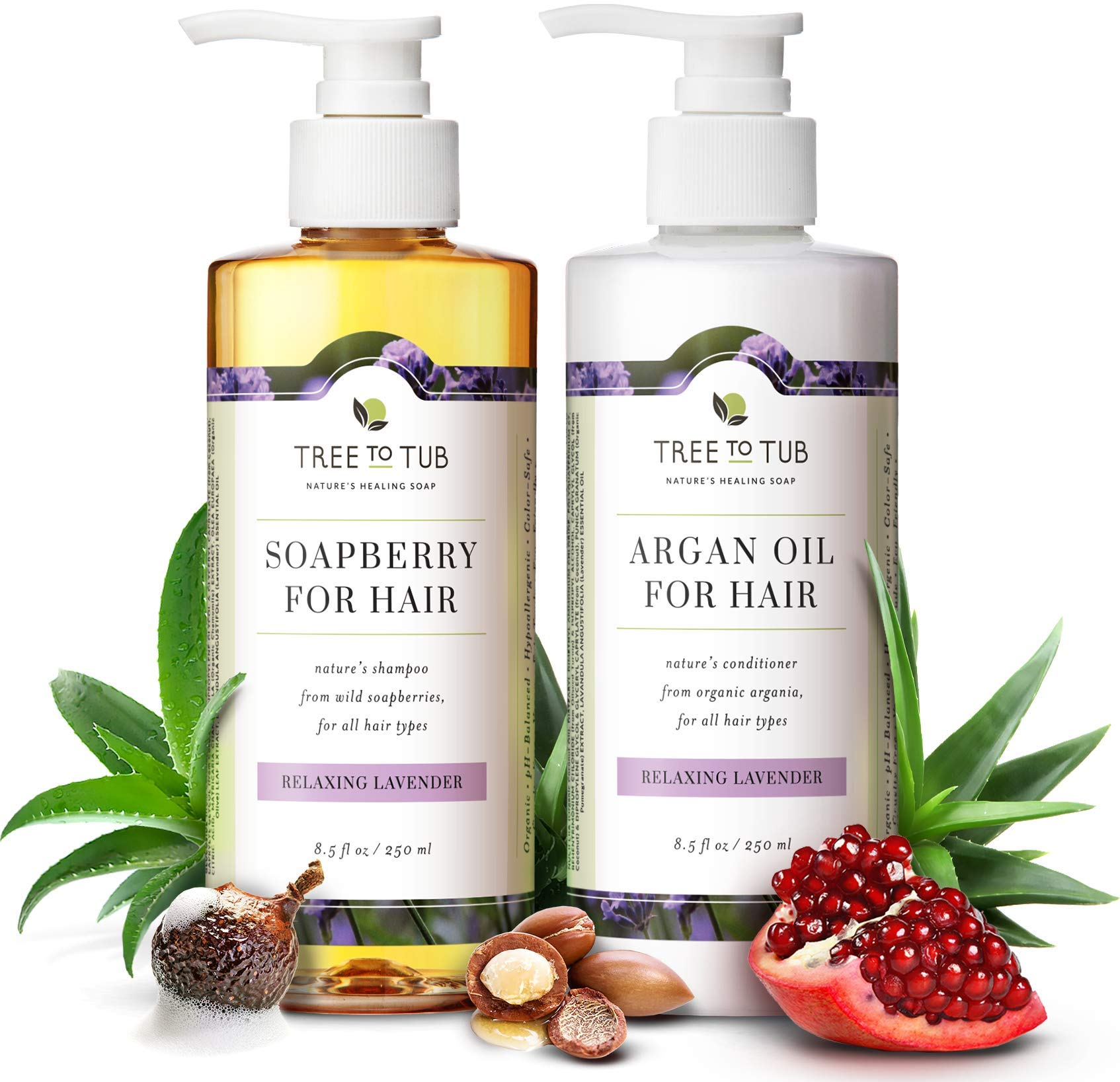 Gentle Argan Oil Shampoo & Conditioner by Tree to Tub-pH 5.5 Balanced Moisturizing Duo with Wild Soapberry & Organic Moroccan Oil - Nourishes Dry Hair & Very Sensitive Scalp, Sulfate Free (2 Pack) by Tree to Tub