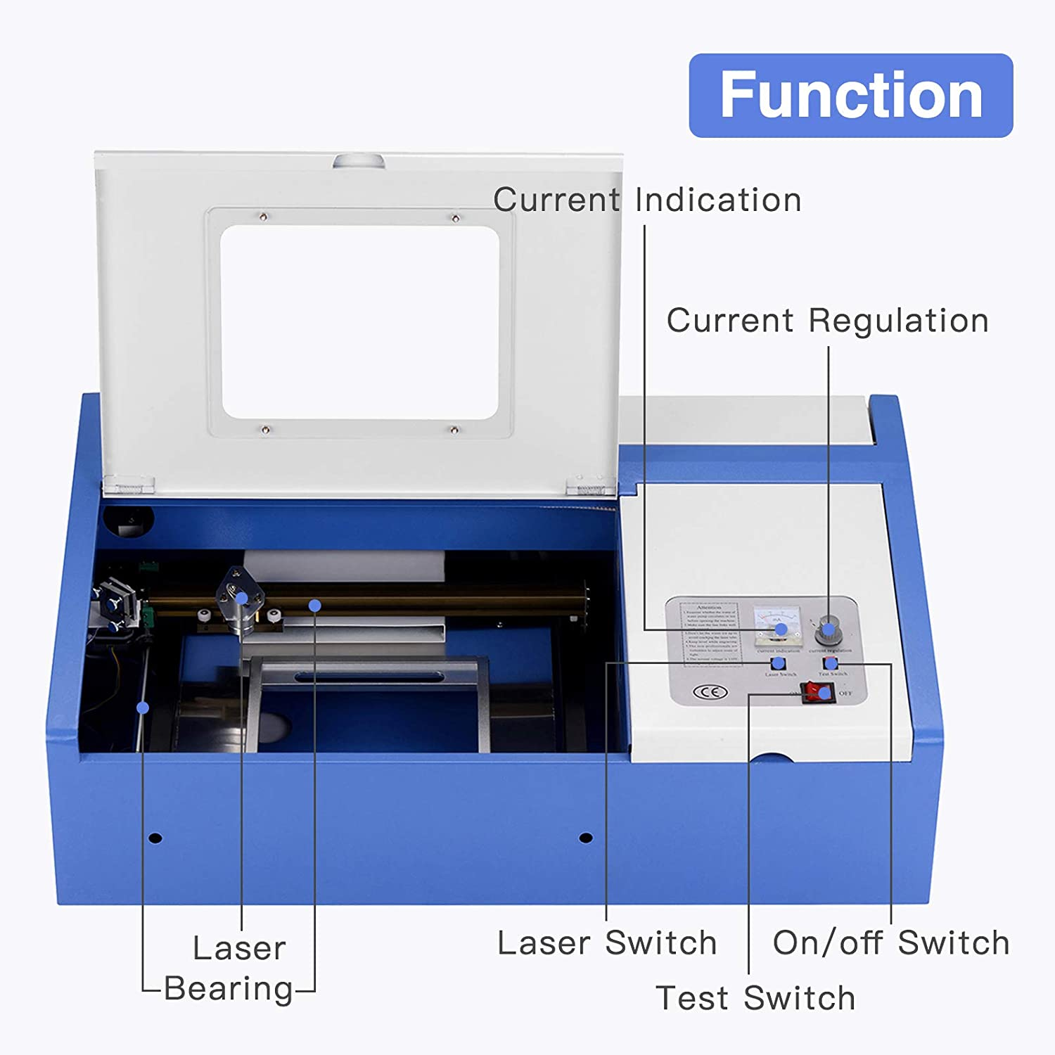 Laser Cutter Suncoo K40 Cutters Diy Engraving Power Supply Wiring Diagram Machine 40w Co2 With Usb Port Only For Windows System 12x8 Blue
