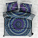 Urban Elephant Mandala Duvet Cover, Bohemian Bedspread Throw Quilt Cover by Handicraftspalace , Indian Mandala Reversible Cotton Duvet Cover With Pillowcases