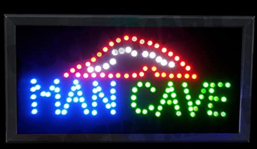 Man Cave LED Light Up Sign 19.5u0026quot;x10u0026quot;x1.25u0026quot; for Party  sc 1 st  Amazon.com & Man Cave LED Light Up Sign 19.5