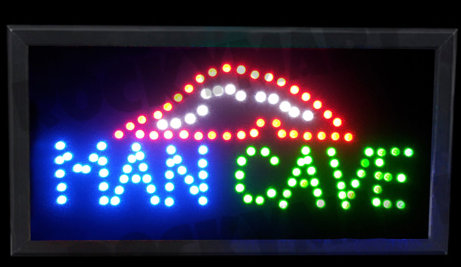 Man Cave LED Light Up Sign 19.5''x10''x1.25'' for Party Room, Bar, Game room, Basement, Mancave, Bedroom and more.