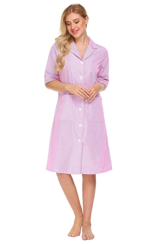 Miuniu Womens Striped Cotton Nightshirt 34 Sleeve Button Pajama