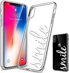 Girlscases® | iPhone XS Hülle, iPhone X / 10 Hülle | Mit coolen Spruch Aufdruck Motiv | Smile | Case Transparente Schutzhülle | Farbe: weiß |