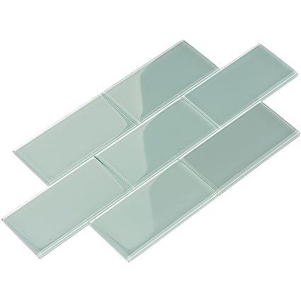 Giorbello Glass Subway Backsplash Tile, 3 X 6, Baby Blue, Case Of 44
