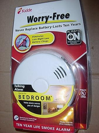 Kidde 10 Year Bedroom Sealed Lithium Battery Operated Smoke Alarm with Voice  Alert. Kidde 10 Year Bedroom Sealed Lithium Battery Operated Smoke Alarm