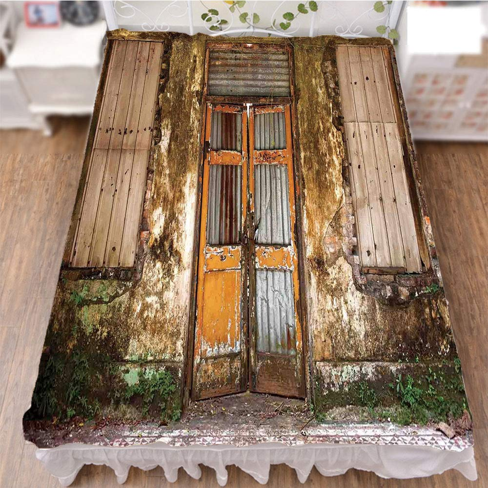 iPrint Bedding Bed Ruffle Skirt 3D Print,House with Boarded Up Rusty Doors and Mold Windows,Fashion Personality Customization adds Color to Your Bedroom. by 94.5''x102.3''