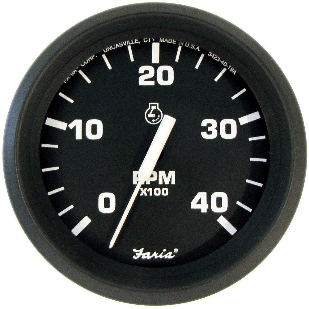 Faria Euro Black 4'' Tachometer - 4,000 RPM (Diesel - Mechanical Takeoff & Var Ratio Alt) by Faria Beede Instruments