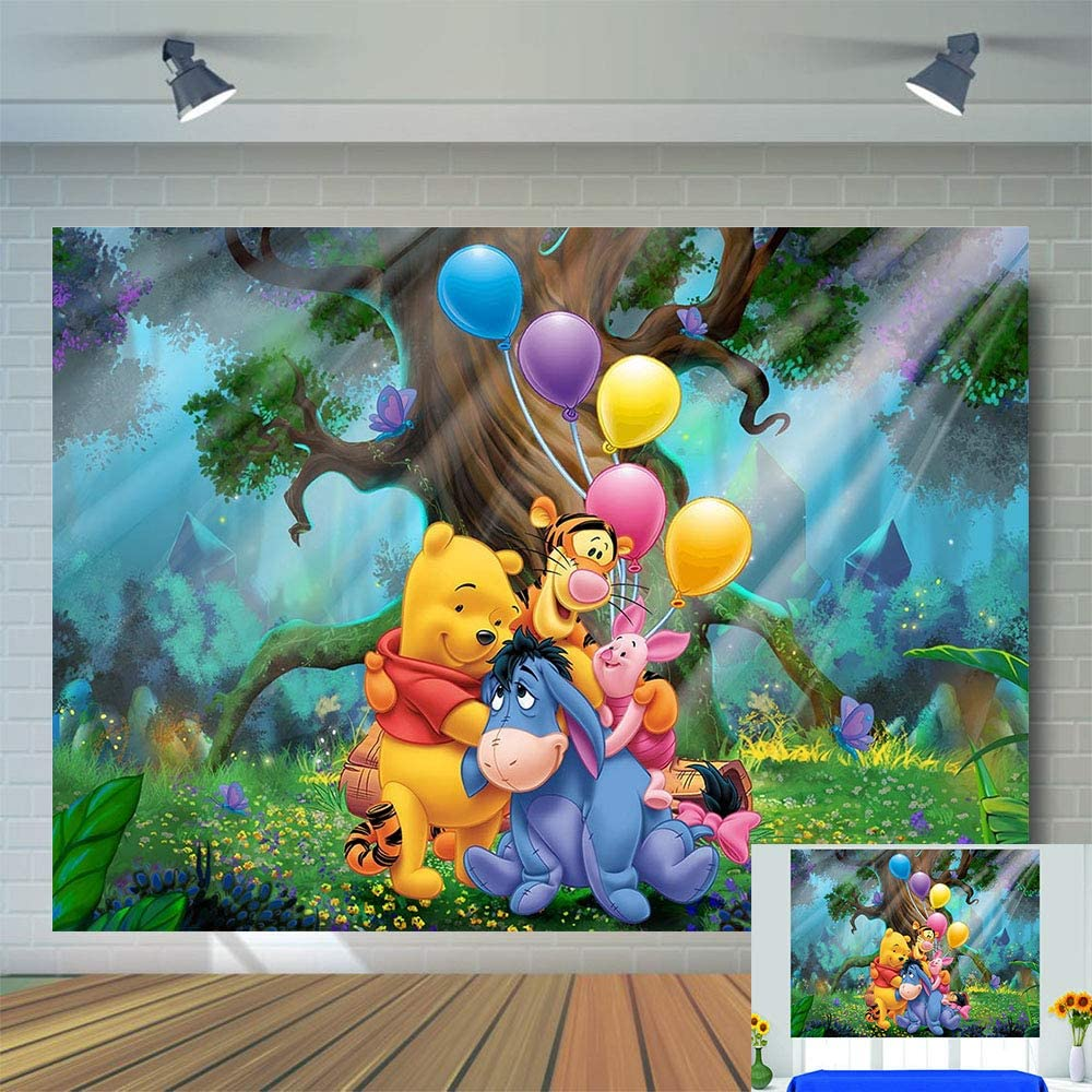 Friends Winnie The Pooh Photo Background Newborn Baby Shower Photo Booth Studio Props Cartoon Forest Cute Animal Balloon Photography Backdrop Vinyl 5x3ft Baby Kids Birthday Party Banner Decorations