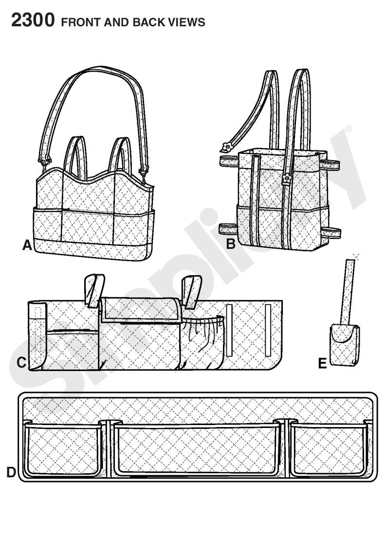 One Size Fits All Simplicity Handicap Accessories Adult Walker Bag with Pockets Sewing Pattern