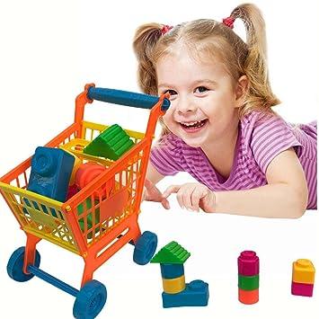 Juguetes para carrito de la compra, MML, para frutas, verduras, supermercado, carrito de compras, carrito de almacenamiento, cesta de juguete educativo: ...