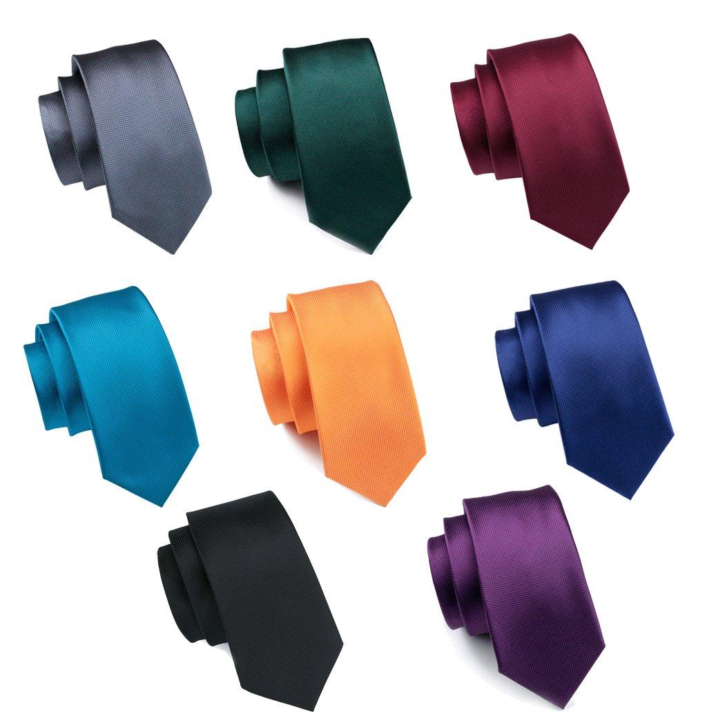 Hi-Tie 8 PCS Classic Solid Color Woven Ties for Men