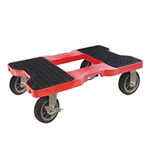 SNAP-LOC 1500 LB All-Terrain Dolly RED (USA!) with Steel Frame, 6 inch Casters and Optional E-Strap Attachment