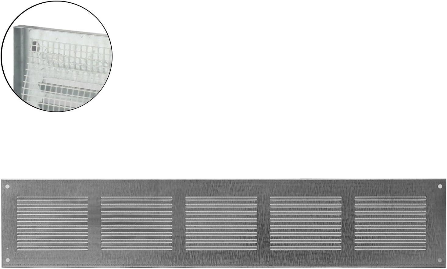 MKK L/üftungsgitter Wandgitter Abschluss Metallgitter Abluft Zuluft Insektenschutz 400 mm x 100 mm wei/ß 18526-013