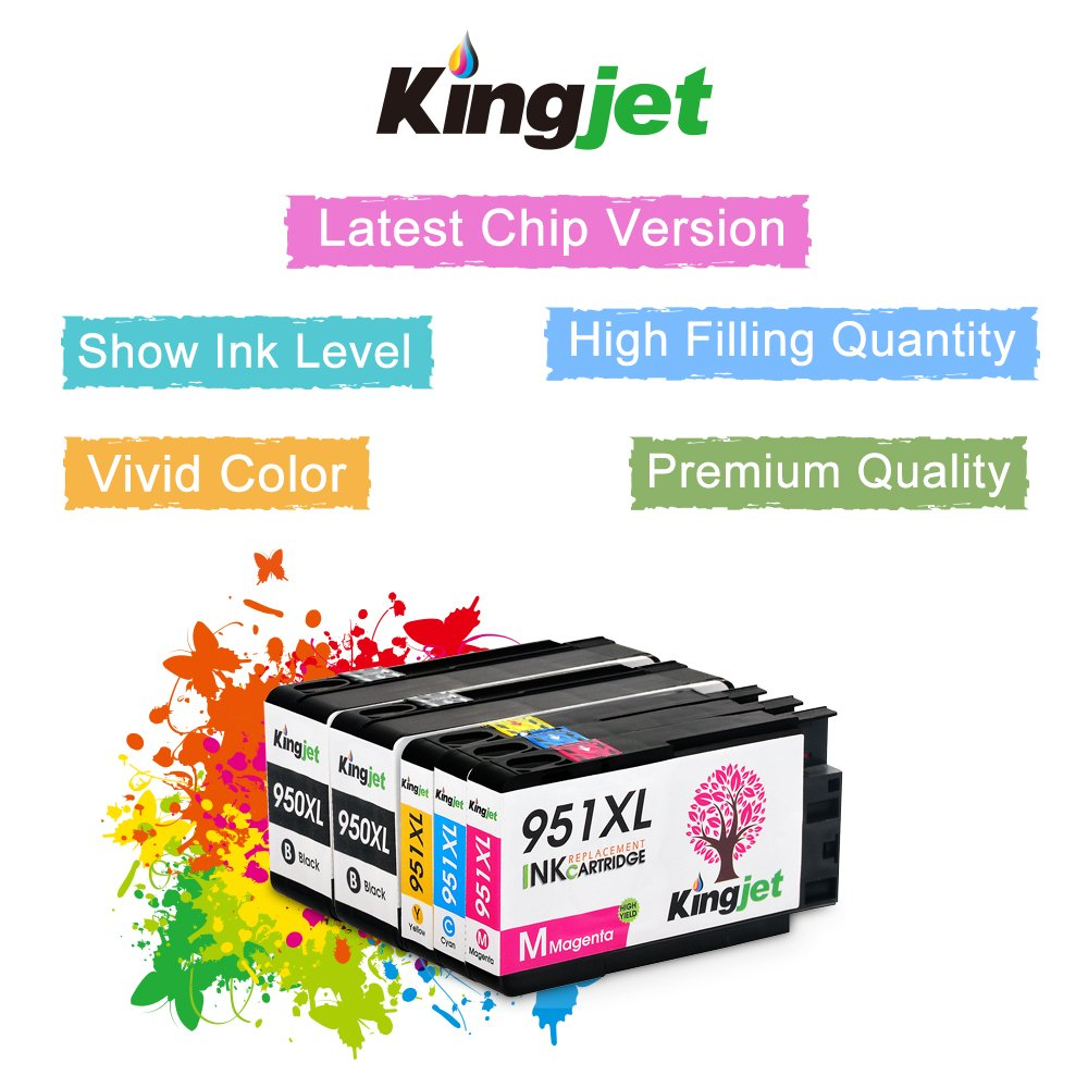 Kingjet Compatible Ink Cartridge Replacement for 950XL 951XL Work with Officejet Pro 8100 8600 8610 8615 8620 8625 8630 Printers, (1Set+1BK) with Updated Chips by Kingjet (Image #4)