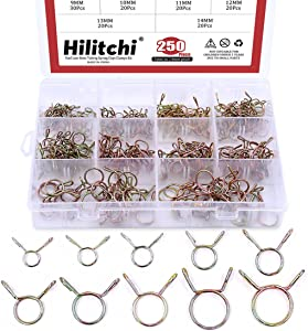 Hilitchi 250-Pcs [10 Size] Fuel Line Hose Tubing Spring Clips Clamps Assortment Kit for Motorcycle Scooter ATV - [5~14mm]