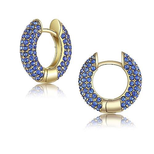 afbbf2d83 Huggie Hoop Earrings, Blue Crystal Gold Plated Cuff Earrings Fashion Jewelry  Gift for Women Girls