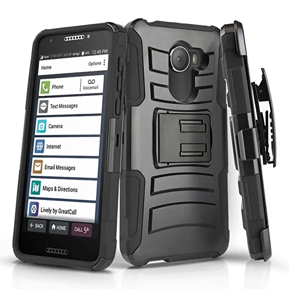 timeless design 2354a 8e05d Phone Case for [Jitterbug Smart 2 (GreatCall)], [Refined Series][Black]  Shockproof [Defender] Cover with [Kickstand] & [Swivel Belt Clip Holster]  for ...