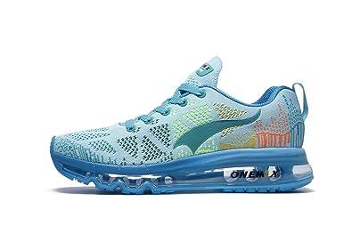 Onemix Air Zapatos para Correr en Montaña y Asfalto Aire Libre y Deportes Zapatillas de Running Padel para Mujer Azul negro: Amazon.es: Zapatos y ...