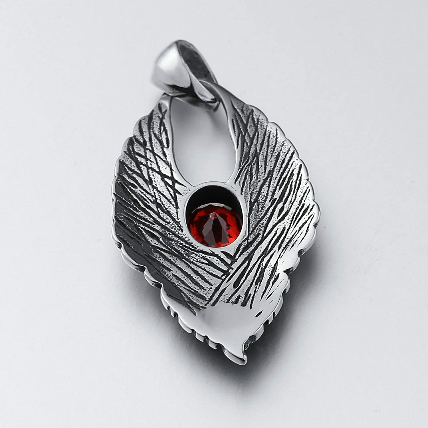 KnSam Stainless Steel Necklace for Men Women Double Wing Radiant Shape Stainless Steel Pendant Necklace