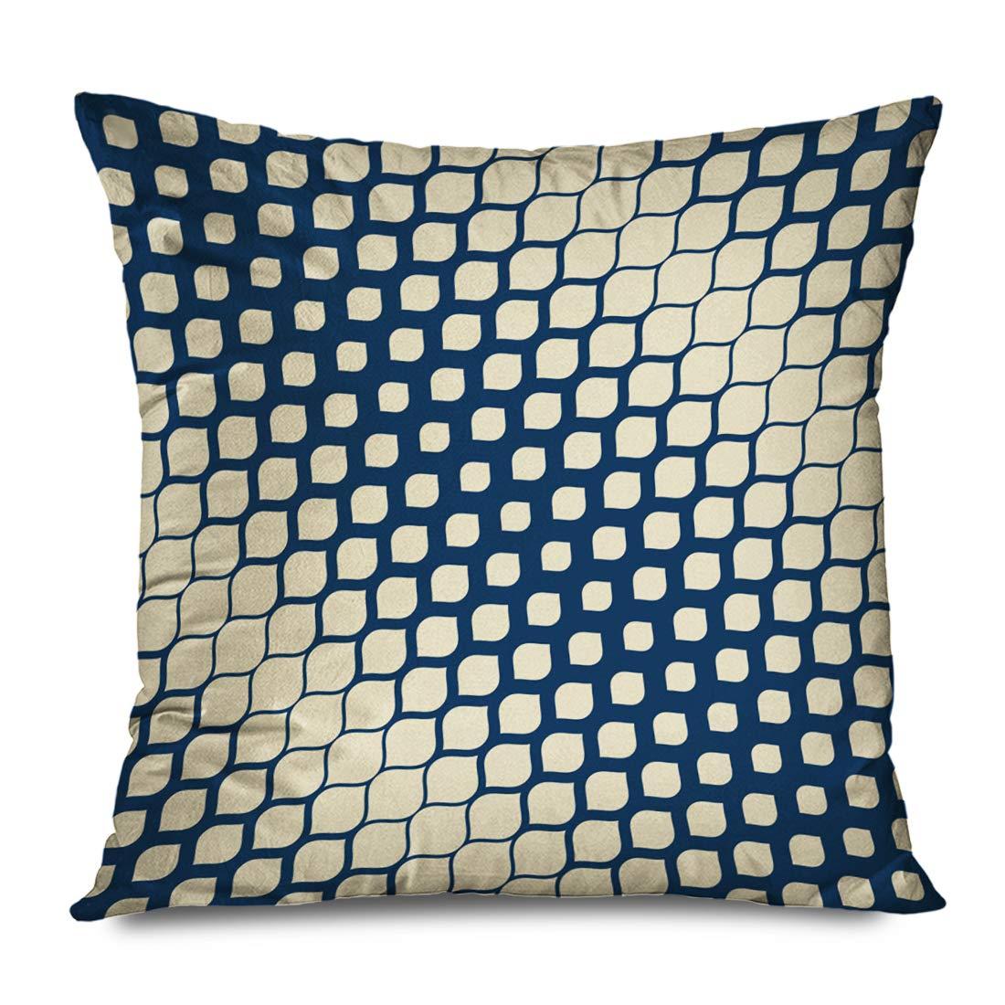 Ahawoso Throw Pillow Cover Square 18x18 Blue Animal Halftone Geometric Elegant Skin Abstract Carpet Cool Diagonal Moire Diamond Petal Fade Decorative Zippered Cushion Case Home Decor Pillowcase