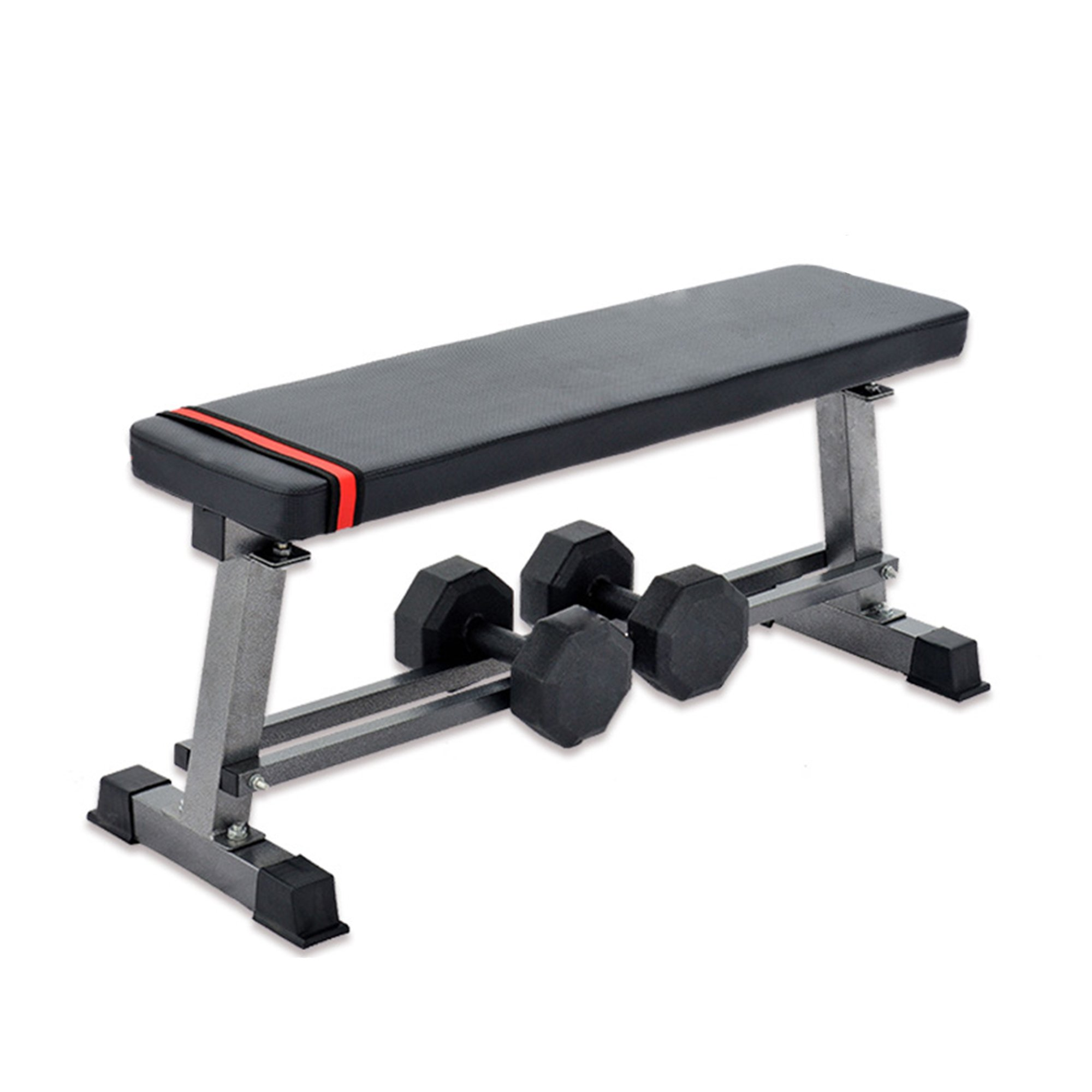"Lucky Tree Flat Weight Bench with Bulit-in Barbell Storage Rack for Home Gym Fitness Training Ab Exercises Board Workout Benches, 660lbs Capacity,40.5""Lx14.5""Wx18""H"