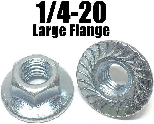 "1//4/""-28 Fine Hex Flange Nut with Serration Case Hardened Zinc Plated"
