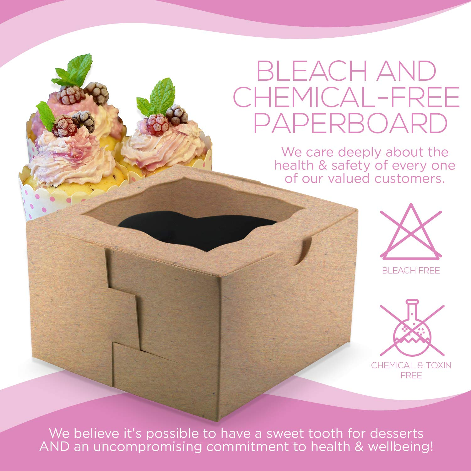 [50Pack] Bakery and Wedding Favor Boxes with Window 4x4x2.5'' - Gift Boxes for Cookies, Cake, Pastries, Donuts, Cupcakes, Candy & Baked Good Treats | Small Dessert Packaging Party Containers by FreshLi (Image #3)