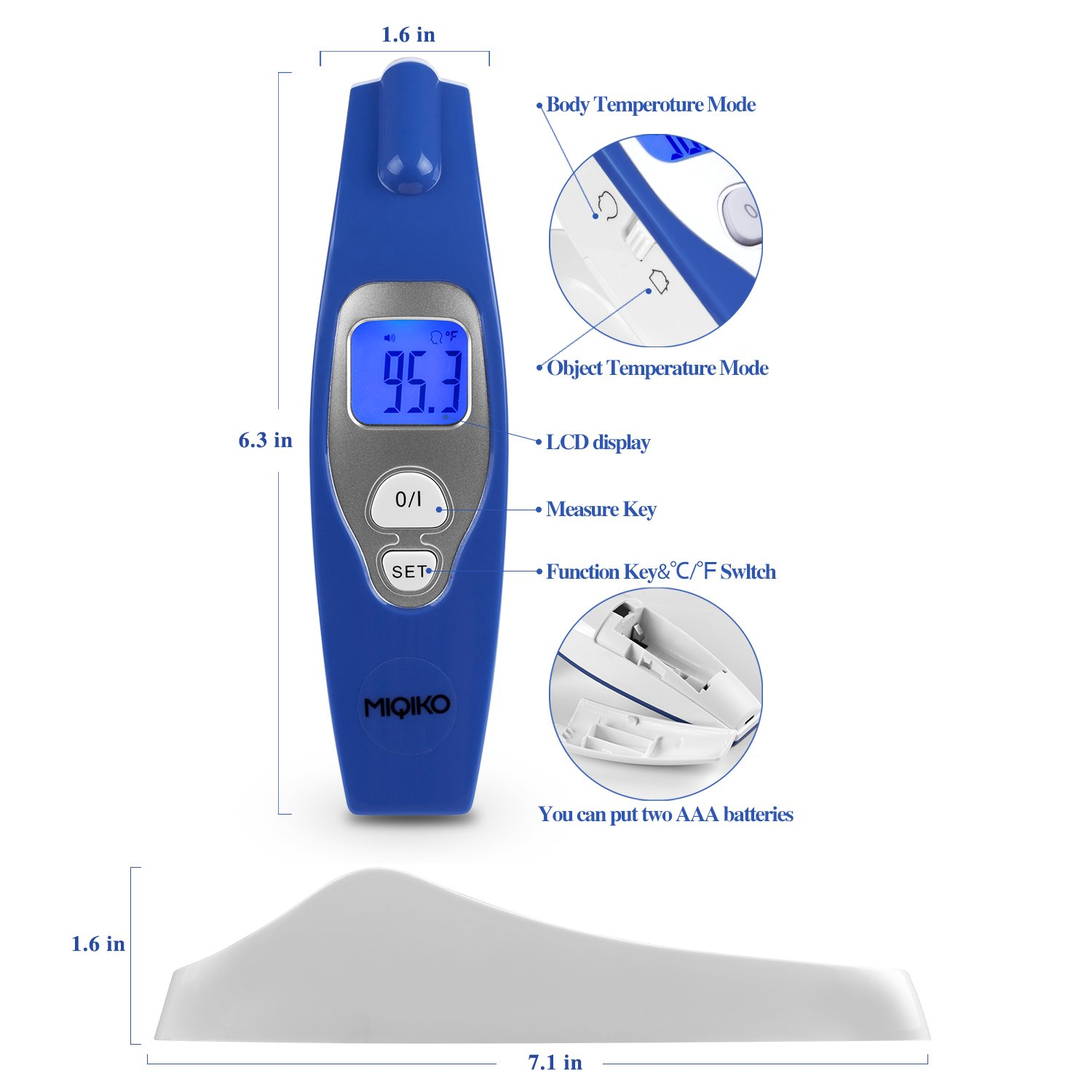 Baby Forehead Thermometer,MIQIKO No-Contact Clinical Infrared Digital Thermometer for /Kids /Adults /Elderly, Forehead /Object Mode,32 Memory, with Instant Reading and Improved Accuracy by MIQIKO (Image #4)
