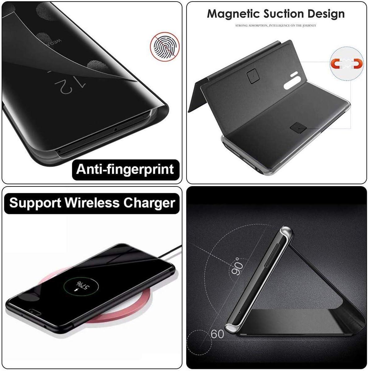 WINMI Para Xiaomi Poco X3 NFC Funda,Transl/úcido Elegante 360 /°Complete Protection Espejo Brillante Standing Mirror Flip Funda para Xiaomi Poco X3 NFC-Azul