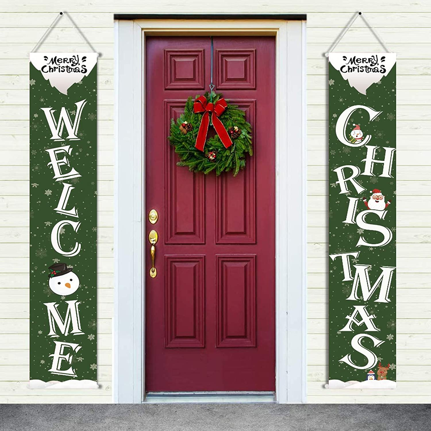 Amazon Com Christmas Nutcrackers Banners Front Porch Christmas Decorations Santa Clause Deer For Home Farmhouse Decor Indoor Outdoor Xmas New Year Porch Signs For Holiday Party Green White Health Personal Care