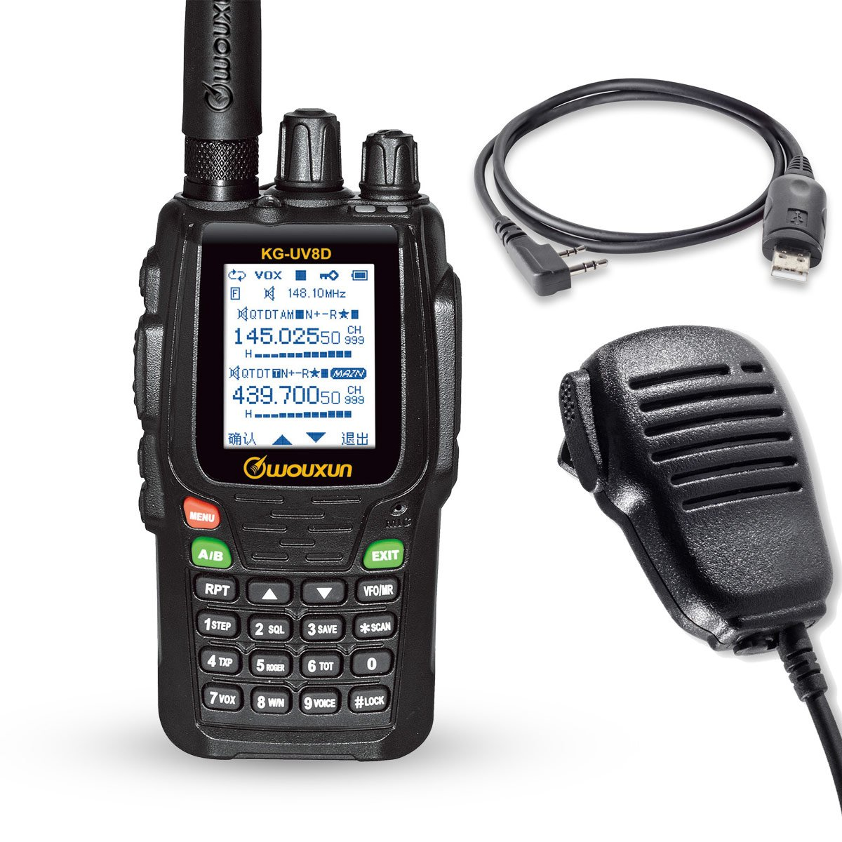Wouxun KG-UV8D Doble Banda 134-174 / 400-520 MHz 999CH Repita Dos Ví as de Radio Walkie Talkie (Radio + Cable de programació n + Altavoz)