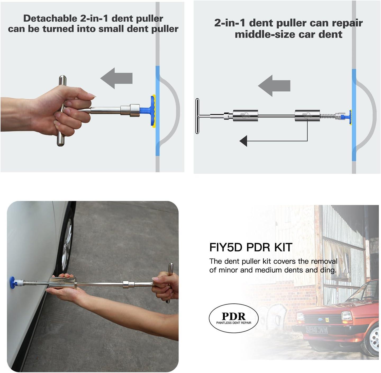 K/ühlschrank PDR Dellen Reparatur etc Ausbeulwerkzeug Lackfreies Motorradkarosserie 72pcs Auto Dellen Reparaturset mit 2-in-1-T-Abzieher und 34pcs Abzieherlaschen DIY Dent Repair f/ür Auto
