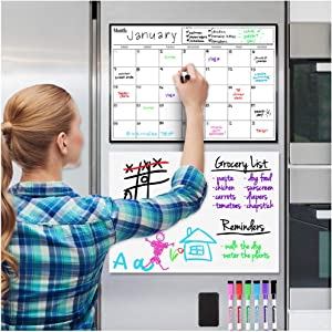 "Magnetic Dry Erase Calendar and Whiteboard Bundle for Fridge: 2 Boards Included - 17x12"" - 6 Fine Tip Markers and Large Eraser with Magnets- Monthly Whiteboard for Refrigerator Wall"