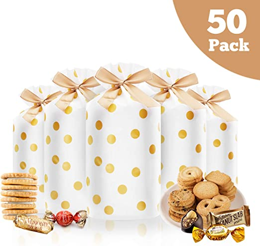 Amazon.com: 50 bolsas de regalo de plástico con cordón para ...