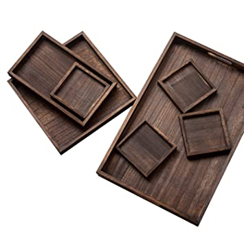 Welhouse - Bandeja de madera con asas decorativas para desayuno, postre, té, café