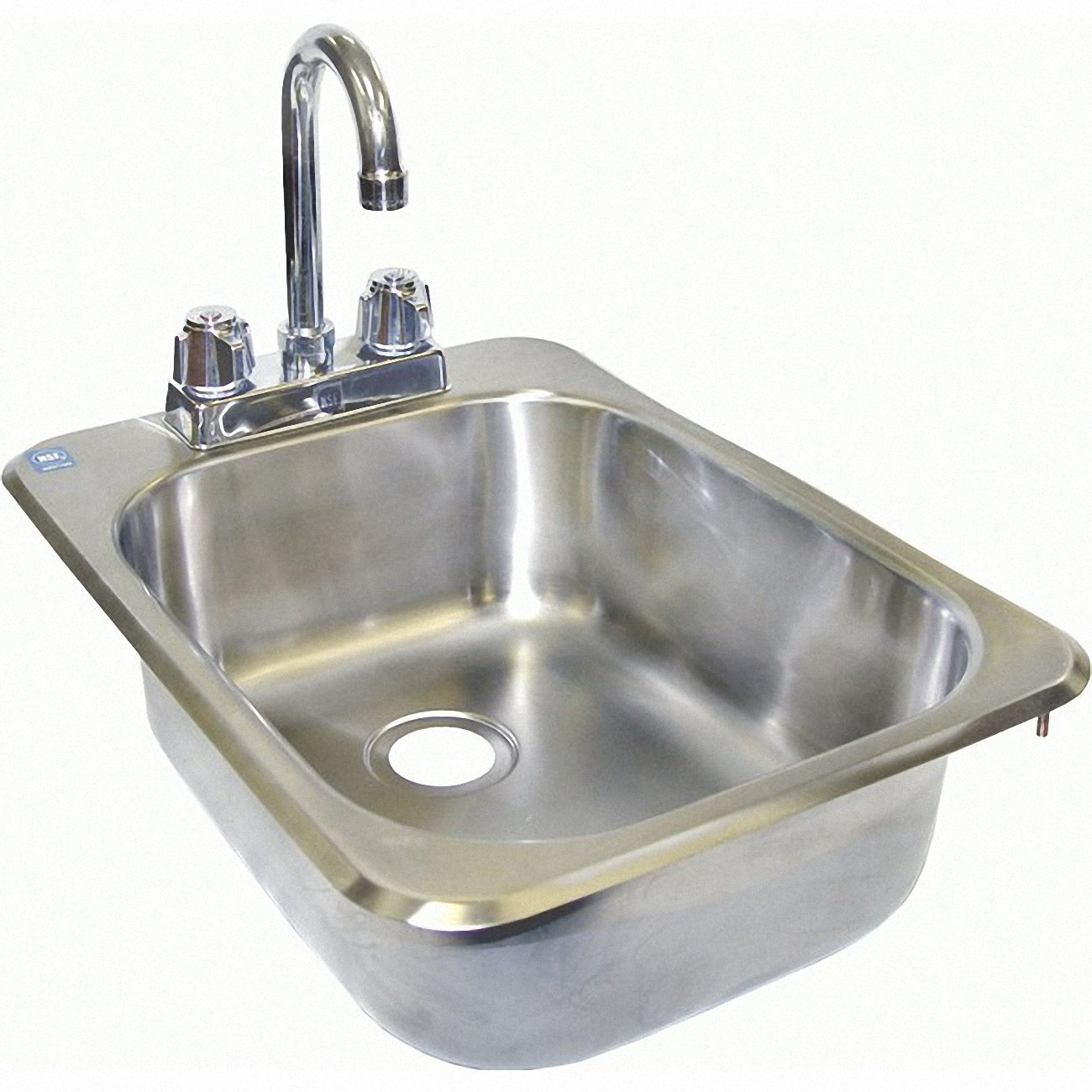 ACE Stainless Steel Drop in Hand Sink with No Lead Faucet and Strainer, 13 by 17-1/2-Inch