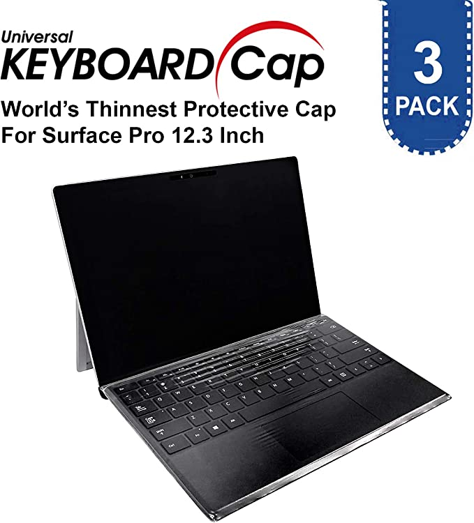 3 Pack Fully Covered Flat Style Easily Sanitized 0.025mm Wipeable Superb Tactile Feeling Waterproof Anti-Dust Keyboard Cap Cover for Surface Pro 6//5//4 Hospital//Dentist Use Easily Sanitized