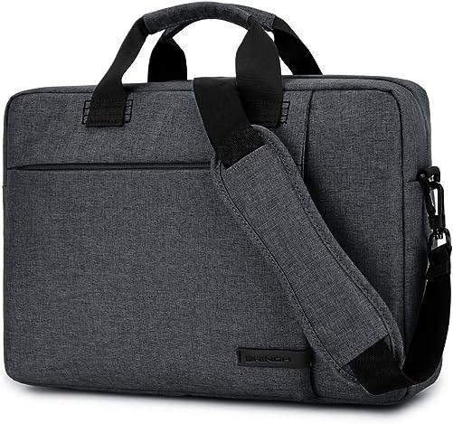 Laptop Bag 17.3 Inch,BRINCH Stylish Fabric Laptop Messenger Shoulder Bag Case Briefcase for 17-17.3 Inch Laptop Notebook MacBook Ultrabook Chromebook Computers Dark Grey