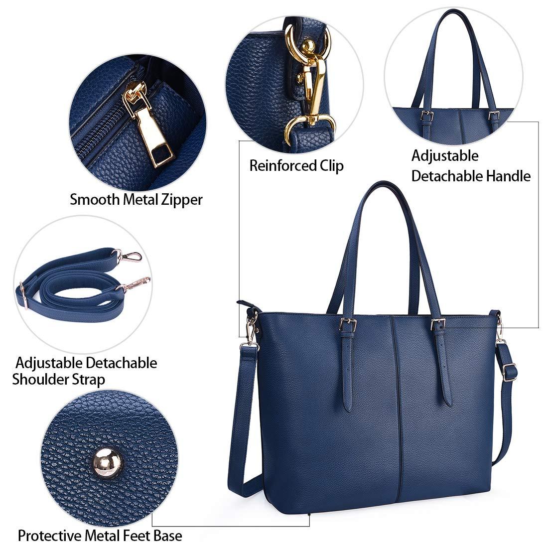 NUBILY Bolsos de Mujer Bolso para Portatil 15.6 Pulgadas Bolso Grande Bolso Tote Bolso de Hombro Bolso Shopper Bolso de Cuero Azul
