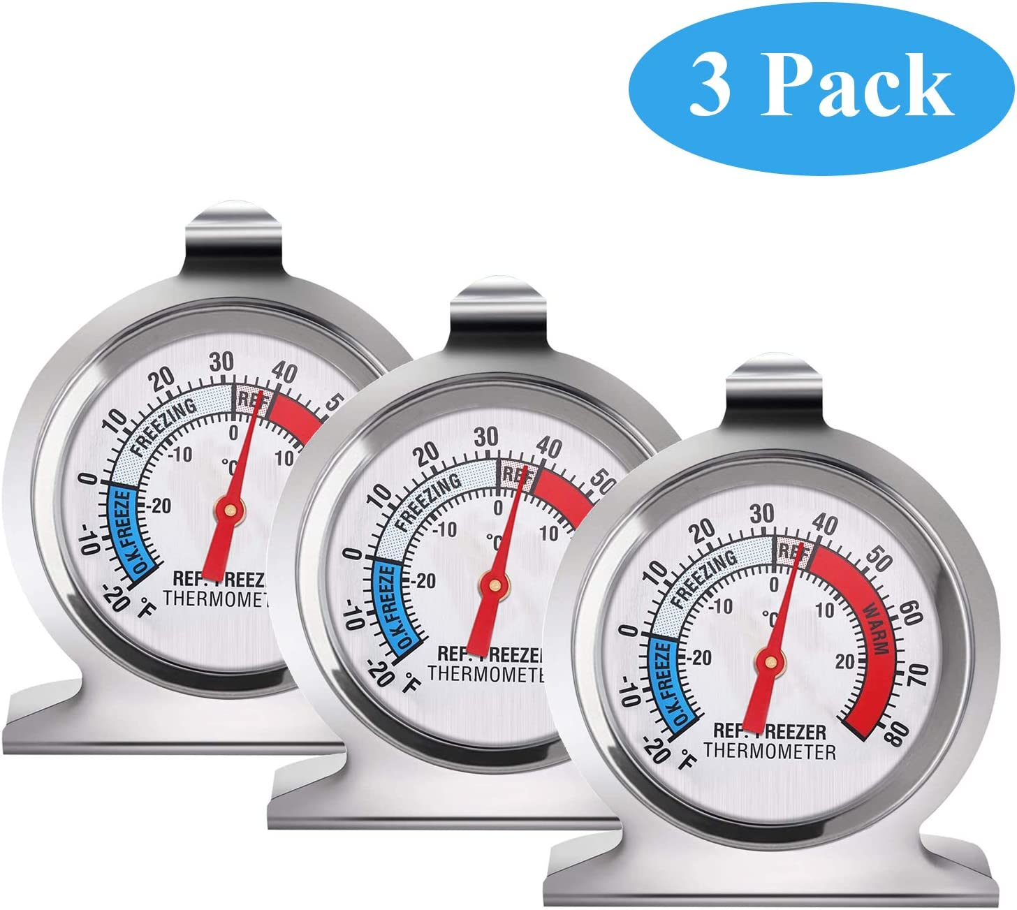 SLKIJDHFB Refrigerator Thermometer Classic Fridge Thermometer Large Dial with Red Indicator Thermometer for Freezer Refrigerator Cooler 3 Pack