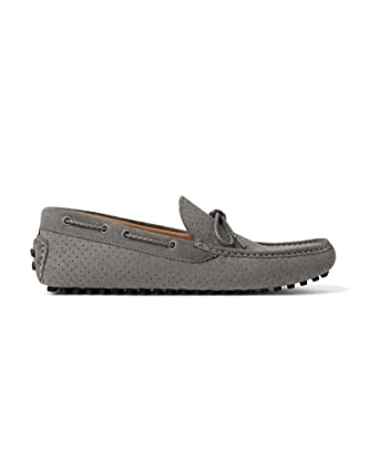 a075c85728b Amazon.com  Zara Men Grey die-cut leather moccasins 2659 302  Clothing