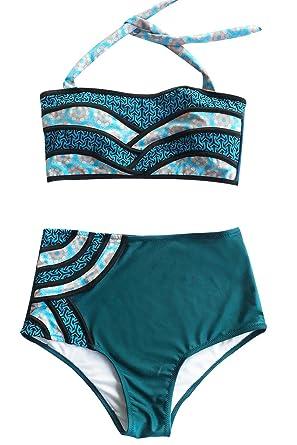 a454cecef3fb9 Seaselfie Women s Splicing Fabric Two Piece Swimwear Halter High Waisted  Padding Bikini Set