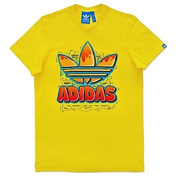 adidas Originals Trefoil Camiseta con Trébol - Amarillo, Algodón, S: Amazon.es: Deportes y aire libre