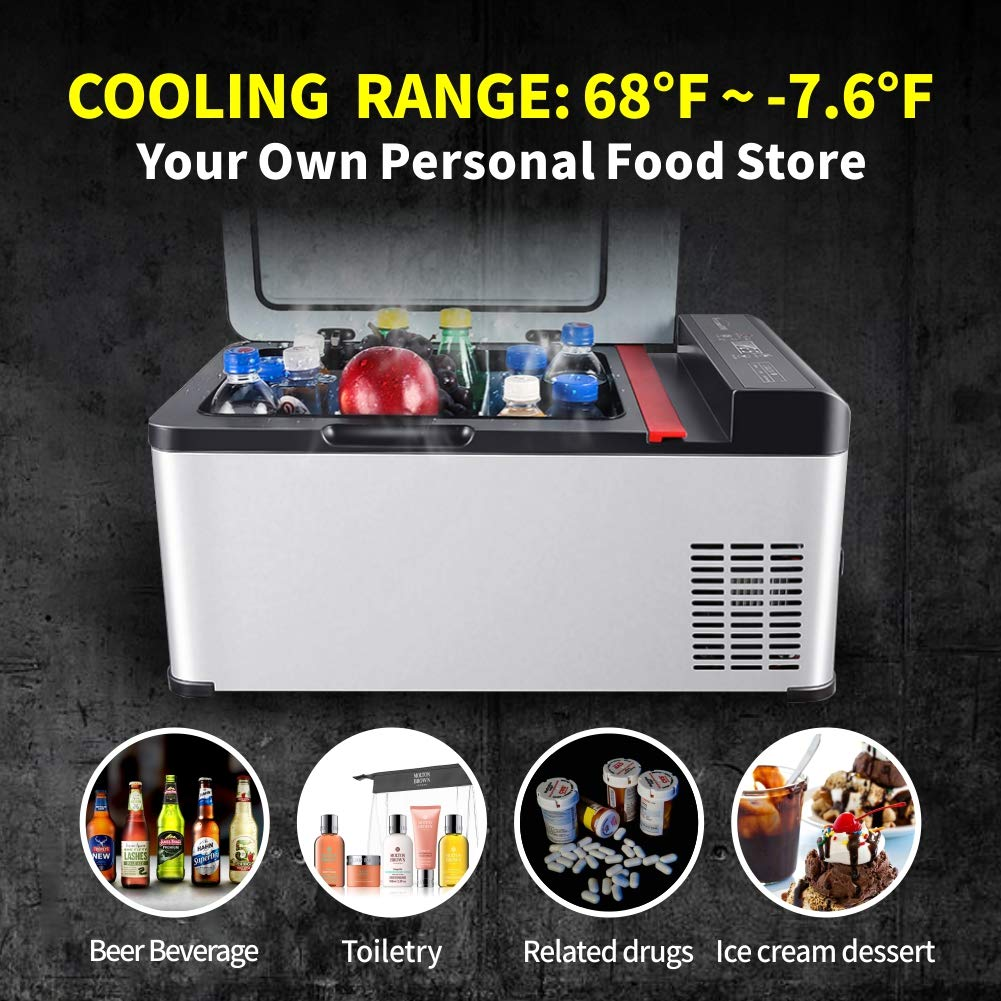 Jubatus Portable Refrigerator 19 Quart(18 Liter) Freezer Compressor Refrigerator for Car Travel Fishing Picnic Outdoor Party and Home Use Car Fridge Portable by Jubatus (Image #4)