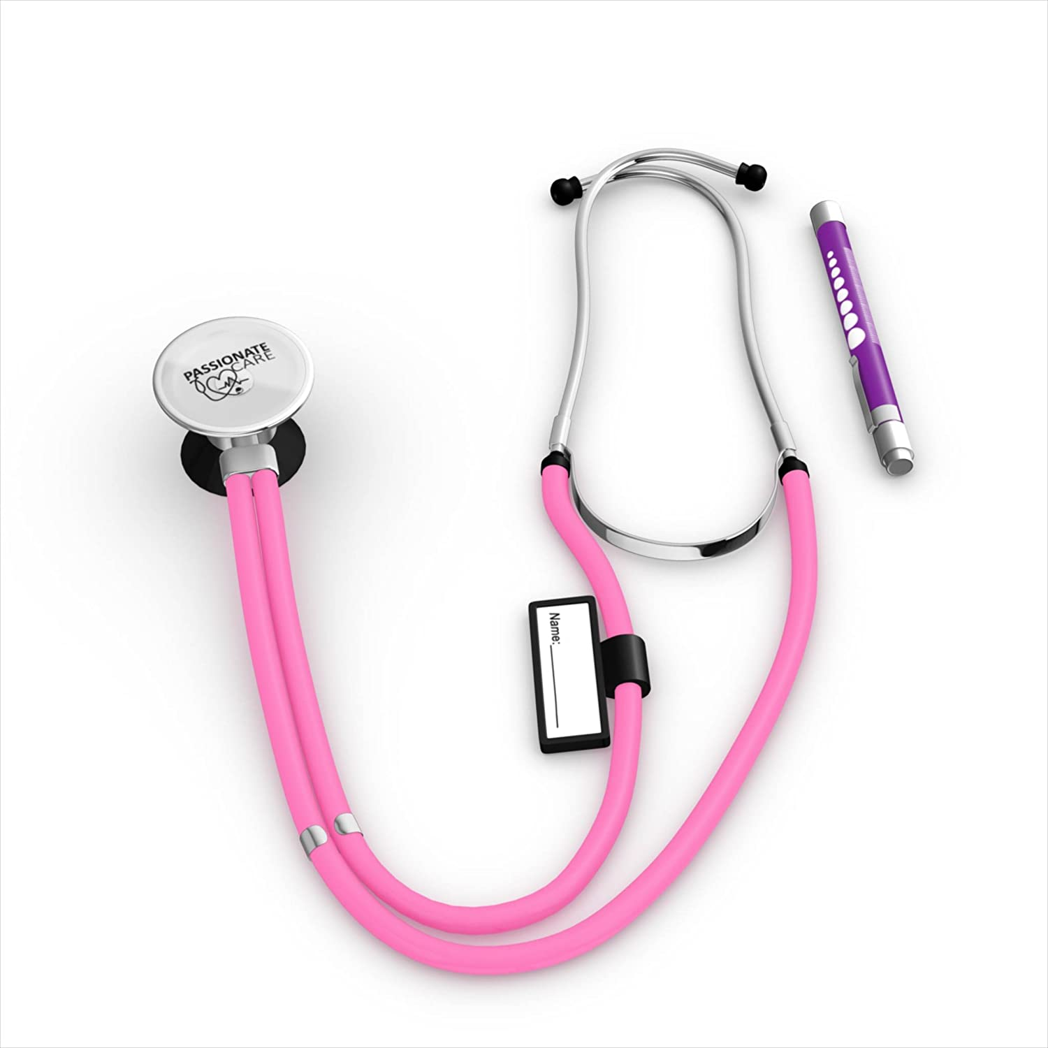 The Rosey The Dual Head Pink Stethoscope Kit That Helps You Feel Good About The Care You give. It s Who You Are. W Upgraded Soft Ear Tips For Comfort, Name Tag, Parts, Pen Light, Double Tubing.