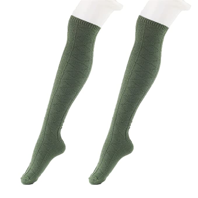 9aa520f87 Amazon.com  Dormery 3pairs lot Wome Stockings Compression Fashion Brand  Coolmax Fall Winter Warm Thick Hosiery Female High Knee Boot Long Stockings  Green 36 ...