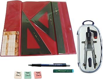 Faibo Pack Estuche técnico Verde Juego Regla 30 cm GRADUADA, escuadra y cartabón de 25 cm