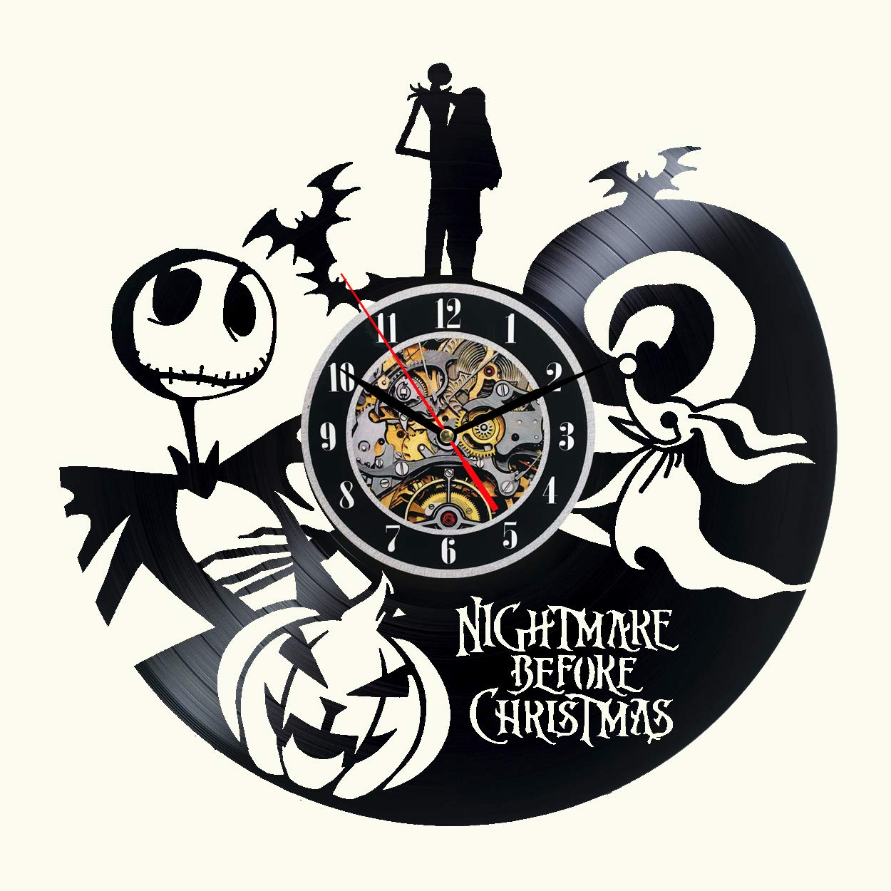 The Nightmare Before Christmas Vinyl Wall Clock 12 in Black Decor ...