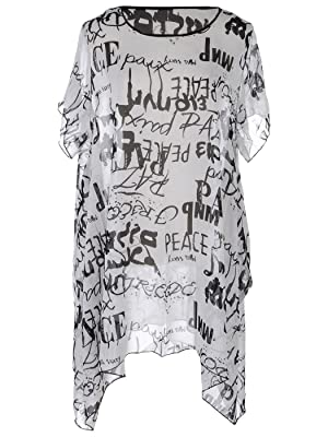 Anna Kaci S/M Fit White/Black All Over Word Printed Uneven Hemline Shirt